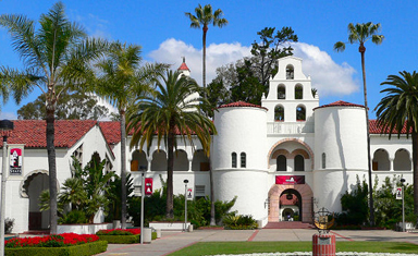 Photo of the front of Hepner Hall