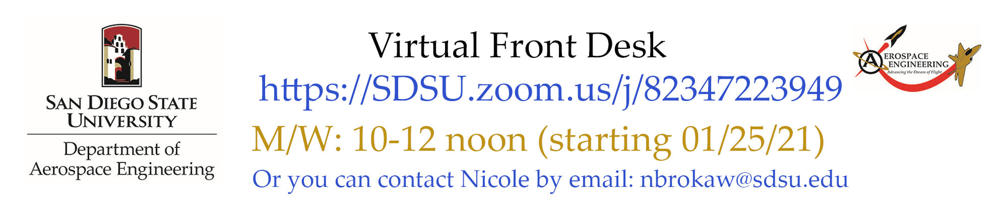 AE Virtual Front Desk Zoom Hours M/W 10-12 noon (link)